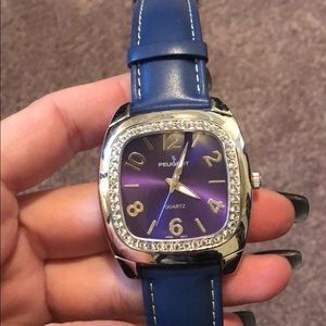 Peugeot Blue Leather Strap Watch